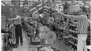 Engine assembly in the Hagerstown plant in the 1970s.