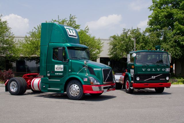 Volvo's 500,000th US-built truck is pictured with its very first US-built truck.