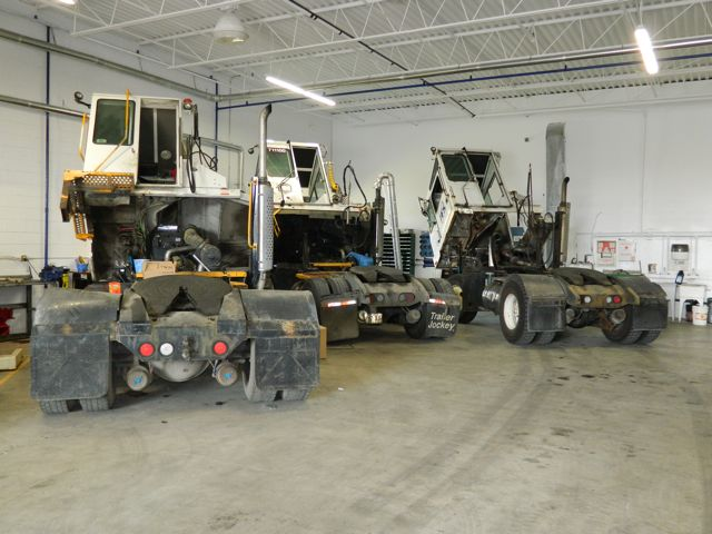 Several shunt trucks await servicing at Glasvan's new truck centre.