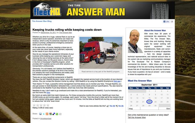 Goodyear's 'Tire Man' has a new blog.