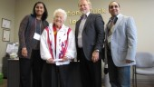 National Truck League kicked off its tenure in Mississauga with a visit from the mayor herself: Hazel McCallion (second from left). From left to right are Jas Sahota, McCallion, Rod Stiller and Charlie Singh.