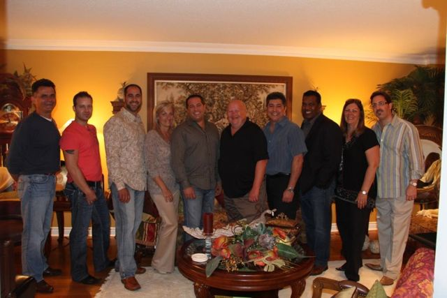 Customers who attended the party included (from left): Joe Bradica; Glasvan, Mike Pereira; CCT Canada, Vito DePasquale; Highland Transport, Dawn Violo; ERS, Benny DiFranco; Peel/ITD, Steve Dobosz; Laidlaw Carriers, Bruno Gemetti; GoJit, Boysie Dindyal; FedEx, Lorraine Virkutis, ATS and Alvis Violo; ERS.
