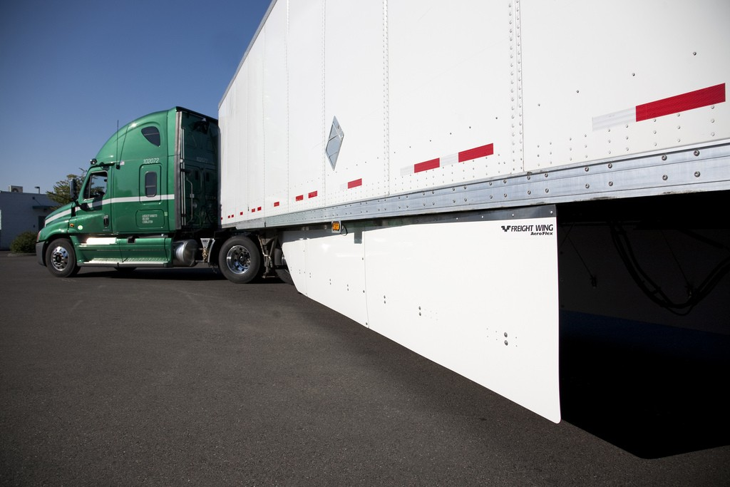 Freight Wing's 2012 AeroFlex side skirt is redesigned at 30 lbs lighter than previous models and only 150 lbs total. The company says customers are seeing 4-7% fuel savings using the product.