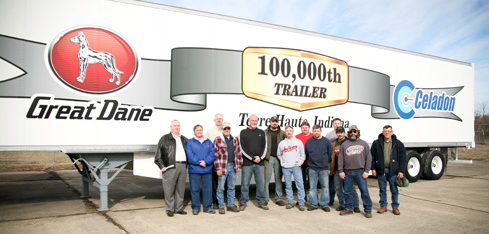 Great Dane Terre Haute manufacturing plant employees gathered to celebrate production of the company's 100,000th trailer at a special ceremony earlier this week.