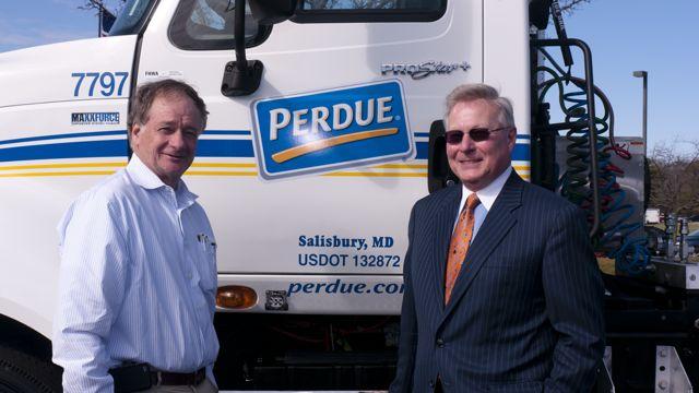 Jim Perdue (left) and Navistar's Jim Hebe.