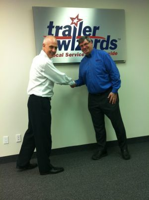 Craig McConnell (left), pictured with Trailer Wizards' Doug Vanderspek.