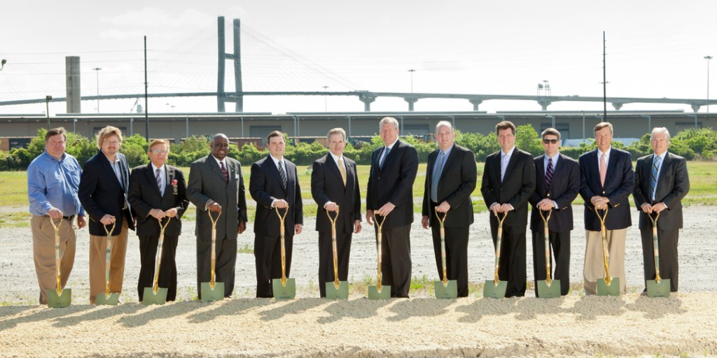 Great Dane executives and local leaders break ground on the site of the company's new Engineering Technology Campus in Savannah, Ga.