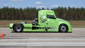 The Mean Green hybrid truck shattered its own speed records in both the standing kilometre and flying kilometre in Utah last week.