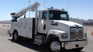 This 4700 service truck performed well on the obstacle course at Las Vegas Motor Speedway.