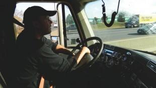 Mike Dingler drives on the 401 near Belleville.