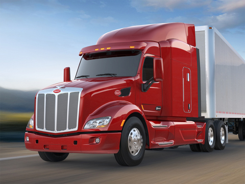 Peterbilt's Model 579, now in production, features a 2.1-metre aluminum cab and a Paccar MX 12.9-litre engine.