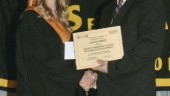 Lisa Belanger, left, was this year's winner of the Grant's Transport mathematics scholarship.