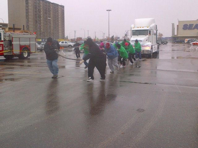 Lousy weather didn't deter six teams from participating in the United Way Truck Pull, which raised $3,000 for the charity.