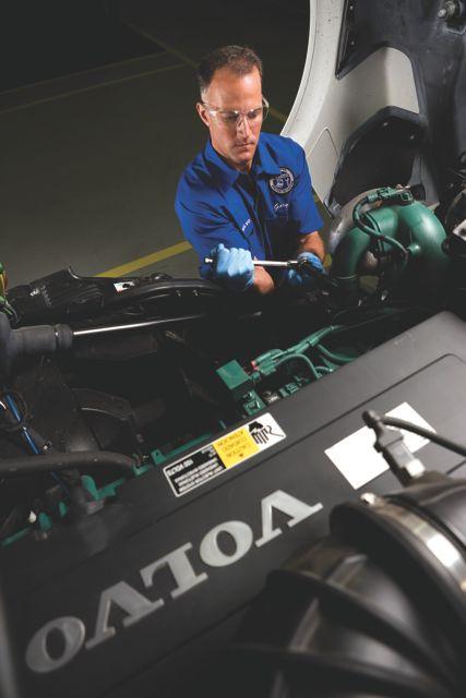 A Volvo technician participates in the company's Vista competition.