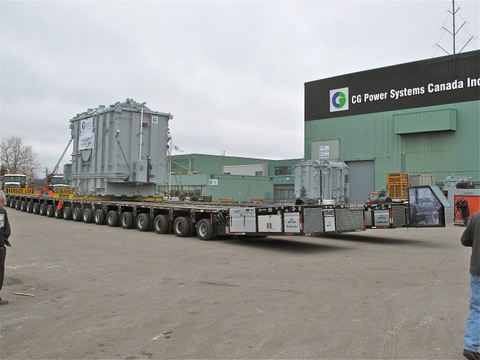 AXLE OVERLOAD: The transformers were transported using a special 320-tire self-propelled modular trailer (SPMT) that was brought to Manitoba especially for the move.