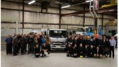 Hino reps, Mohawk College staff and students, and other dignitaries gather for Hino's donation of a new truck to the college Nov. 29.