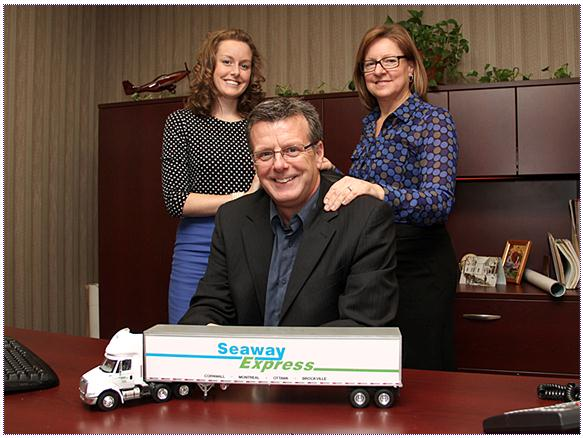 Seaway Express general manager Melanie Hamel (left) with parents Bob and Linda Gauthier.