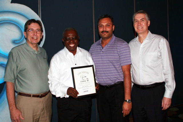Arrow Truck Sales Toronto had both its office and its salespeople decorated at a recent awards ceremony hosted by Arrow. Pictured from left: Steve Clough, president, Arrow Truck Sales; Jacobson Hodoh, salesperson, Arrow Truck Sales Toronto; Vikas Gupta, branch manager, Arrow Truck Sales Toronto; and Jim Stevenson, director of sales - Eastern Region.
