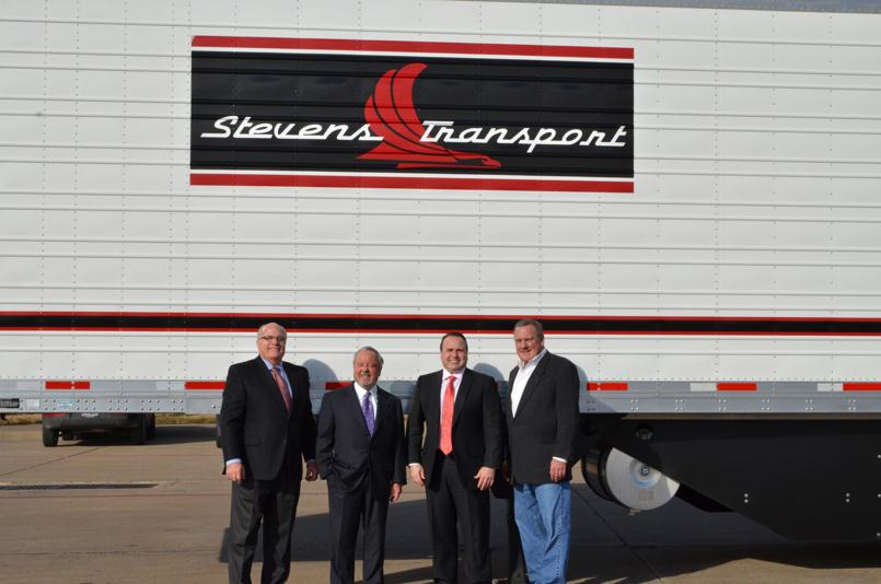 Utility Trailer recently marked the 100,000th reefer trailer manufactured at its Clearfield, Utah facility. Combined with a second, now-closed facility, also located in Clearfield, the company recently surpassed 200,000 reefers manufactured in the state. The 100,000th reefer was made for longtime customer Stevens Transport. Pictured from left to right: Dave Wallace, Utility Trailer Manufacturing Co.; Steve Aaron, Stevens Transport, Chairman and CEO; Clay Aaron, Stevens Transport, president; and Packy Watson, Utility Trailer of Dallas.