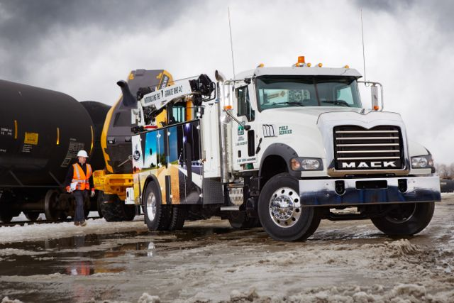 One of two Mack Granite MHD 4x2s showcased at the Work Truck Show.