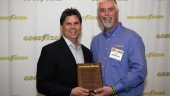 2012 Goodyear North America Highway Hero Award winner Jason Harte (right), with Gary Medalis, director of marketing, Goodyear Commercial Tire Systems. Harte rescued a family of six from a smashed minivan.