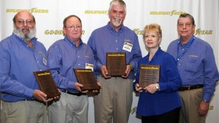 Finalists for the 2012 Goodyear North America Highway Hero Award include (from left to right): David Williams, Chad Dickey, award winner Jason Harte, and Claire and Rodger Burgess. They were honoured by Goodyear on March 21 during the Mid-America Trucking Show.