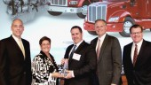 Peterbilt Motors Company presents Caminos Excellence Peterbilt - Laval the award for Peterbilt's Parts and Service North American Dealer of the Year. From L to R: Darrin Siver, Paccar Parts general manager and Paccar vice-president; Nicole Lussier, Camions Excellence Peterbilt - Laval; Dany Lussier, Camions Excellence Peterbilt - Laval; Bill Kozek, Peterbilt general manager and Paccar vice-president; and Tony McQuary, Paccar Parts general sales manager.