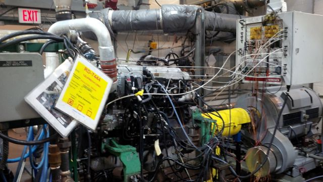 An International MaxxForce engine is put through its paces in a test cell at Navistar's revamped Melrose Park Test Center and Engine Plant.
