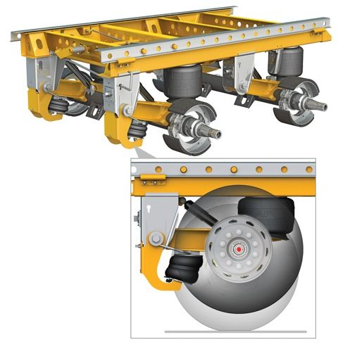 A new Auto-PosiLift axle lift system is now an option on the SAF CBX40 tandem axle slider suspension from SAF-Holland.