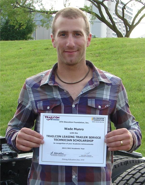 Wade Munro of Hagarsville, Ont. was awarded the Trailcon Leasing Trailer Service Technician Scholarship May 29.