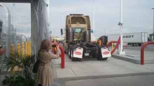 Instead of the traditional ribbon-cutting ceremony, an LNG truck drove through the ribbon to celebrate the fuelling station's opening.