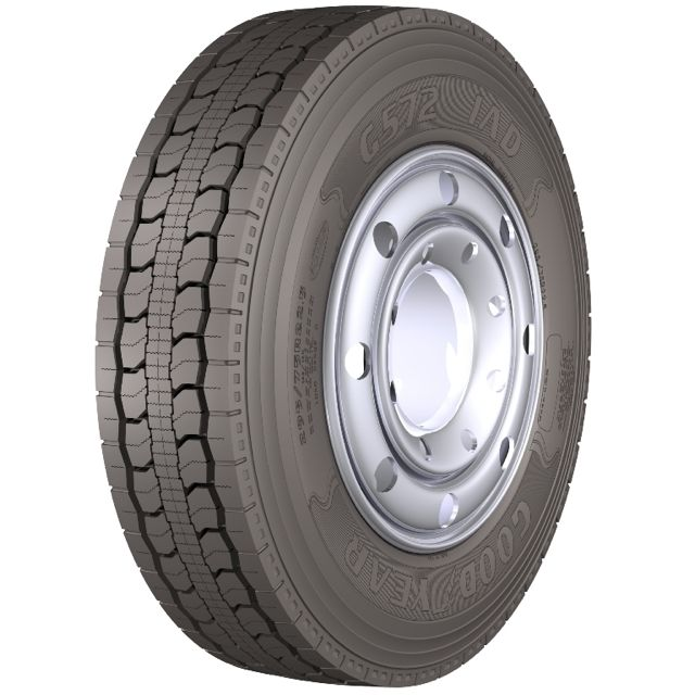 The Goodyear G572 1AD tire is designed for single-axle applications including 6x2 configurations.