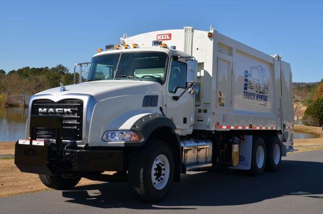 Mack's new Granite MHD rear loader refuse truck.