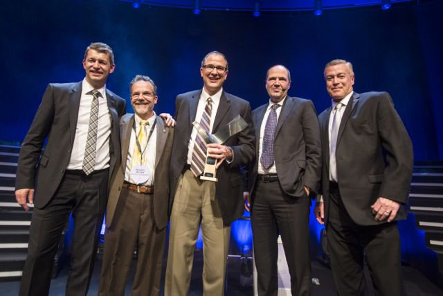 (L-R) Melker Jernberg, chair of the Swedish Steel Prize jury and head of SSAB EMEA, Michael Brown, Mack Trucks director of project management, Greg Kiselis, Mack principal engineer, Martin Lindqvist, CEO and president of SSAB AB, and John Walsh, Mack vice president of marketing.