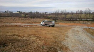 The Volvo VHD on the company's new off-road track, still under construction at its Dublin, Va. truck plant.