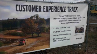 A sign describes the attributes of Volvo's new track.