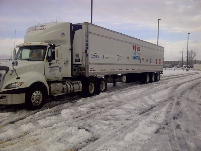 Driver Jim Jackman of Thomson Group delivered a truckload of toys to CFB Trenton, for further delivery to 24 remote communities in Northern Ontario.