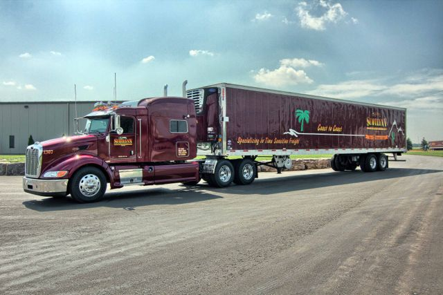 Scotlynn Transport has provided a late model Peterbilt tractor and reefer trailer to KRTS so students there can learn on quality equipment.