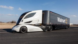 The WAVE uses a microturbine-hybrid powertrain, an electric motor and a battery storage system to pull a carbon fibre trailer.