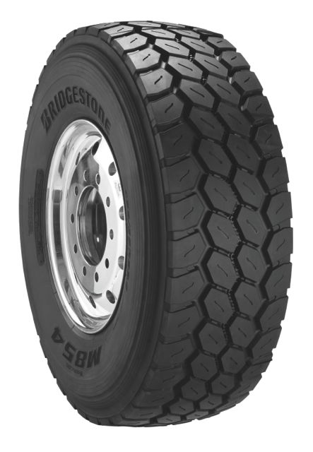 The new Bridgestone M854 wide-base tire for severe-service applications.