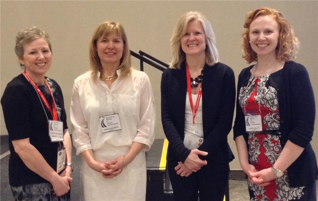Supporting Women Trucking vice-chair Linda Young, TruckingHR Canada CEO Angela Splinter, Supporting Women in Trucking chair Vicki Stafford, and Trucking HRCanada director of programs and services Tamara Miller at the inaugural committee meeting (from left to right).