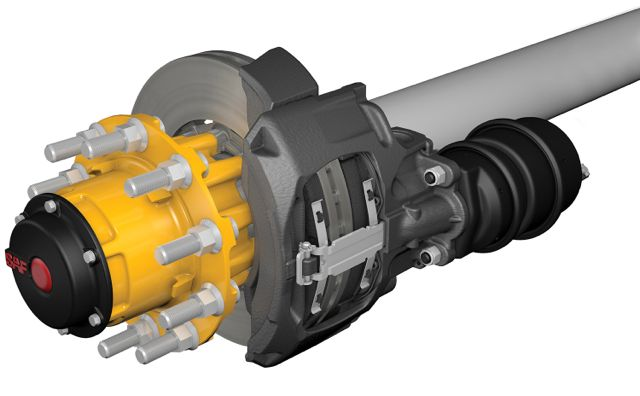 The SAF-Holland integral air disc brake axle system