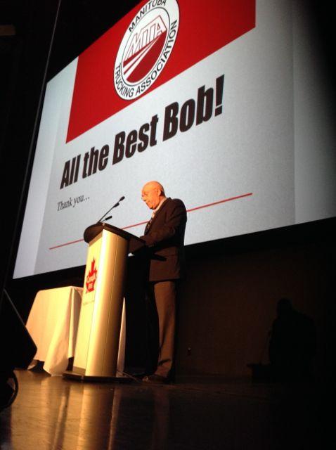 Bob Dolyniuk is honoured by trucking industry peers.