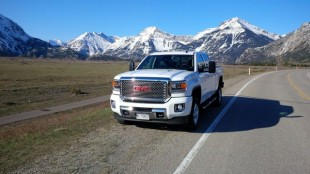 The 2015 GMC Sierra HD, pictured just outside Waterton Lakes Provincial Park in Alberta.
