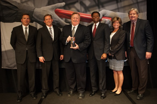Eaton was recently named one of Cummins' top suppliers in the U.S. for its technology contribution and partnering. Pictured (L-R): Tim Millwood, executive director, purchasing, Cummins; Scott Adams, executive director, sales, Automotive North America, Eaton; Tom Stover, chief technology officer, Vehicle Group, Eaton; Michael Johnson, director, sales, Automotive North America, Eaton; Lisa Yoder, vice-president, Global Supply Chain and Manufacturing, Cummins; and, Steve Spaulding, vice-president, Engine Business Unit Purchasing and Supply Chain Management, Cummins.
