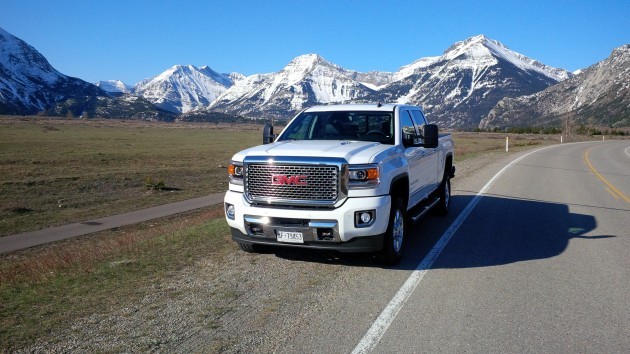 The GMC Sierra pictured just outside Waterton Lakes National Park.