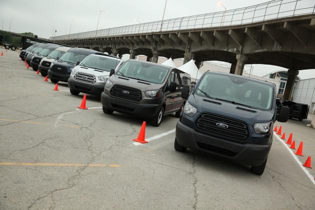 A full fleet of Ford Transits was made available to journalists for a recent test drive. Photo by David Freers/Ford Motor Company.