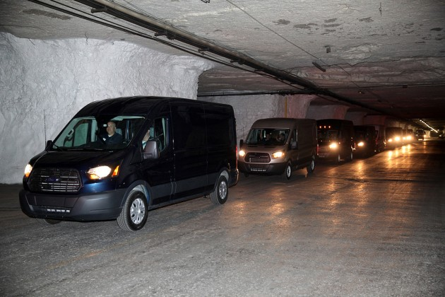 The Transit vans leave the Subtropolis underground industrial park in Kansas City. Photo by David Freers/Ford Motor Company.