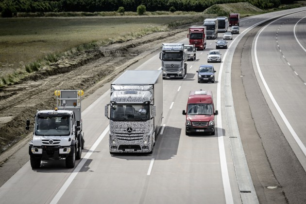 A disabled vehicle on the shoulder causes the autonomous truck to edge to the left edge of its lane.