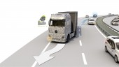 An automated truck detects an approaching emergency vehicle and automatically moves to the shoulder.